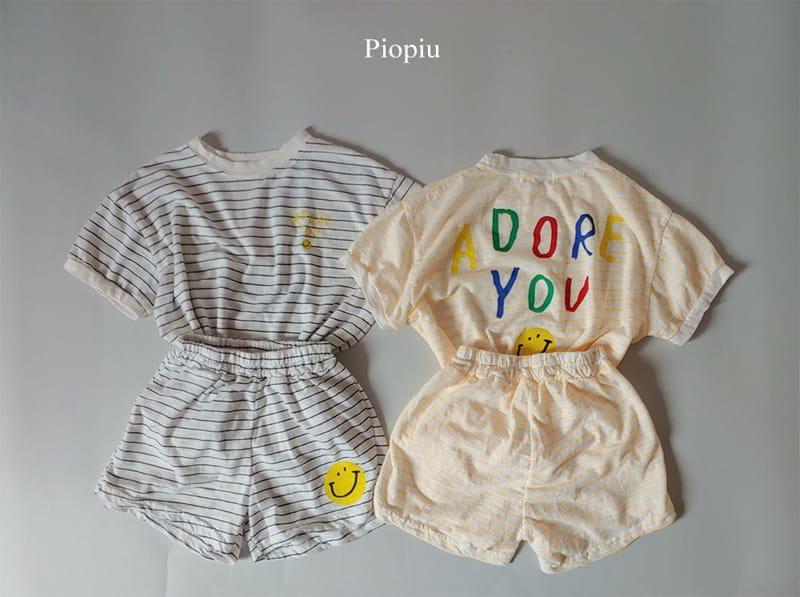 PIOPIU - Korean Children Fashion - #Kfashion4kids - Smile Top Bottom Set - 2