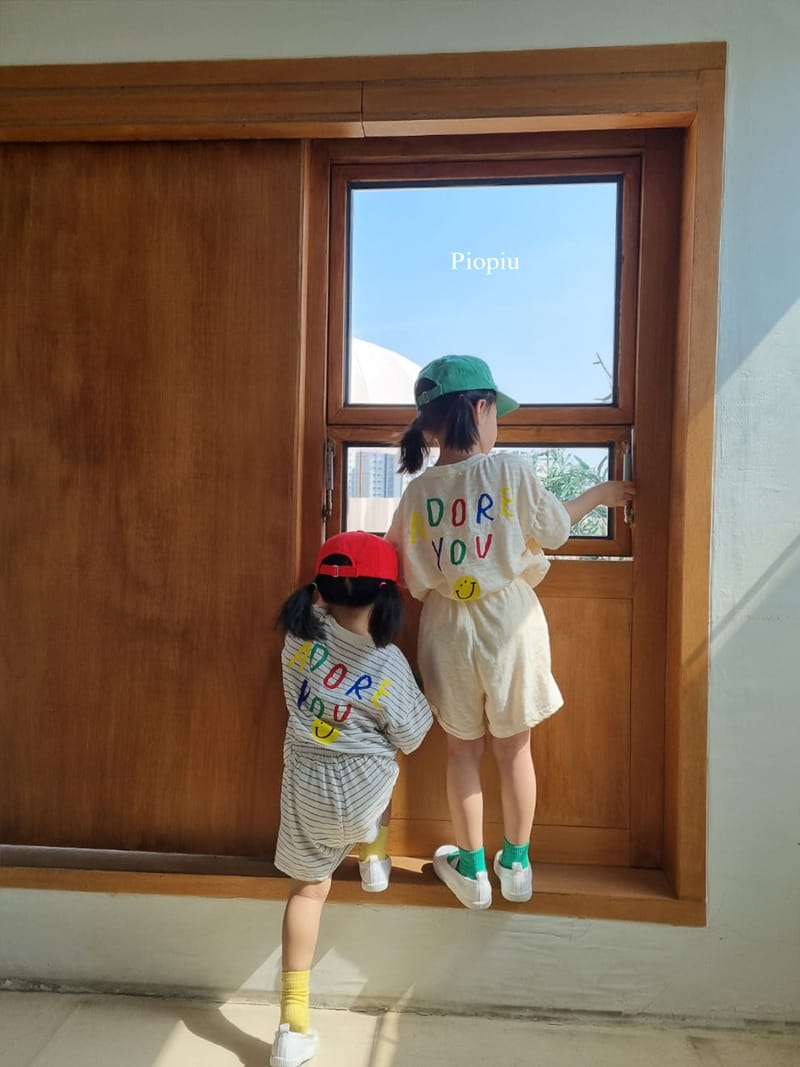 PIOPIU - Korean Children Fashion - #Kfashion4kids - Smile Top Bottom Set - 7