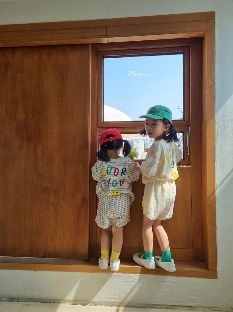 PIOPIU - Korean Children Fashion - #Kfashion4kids - Smile Top Bottom Set - 8