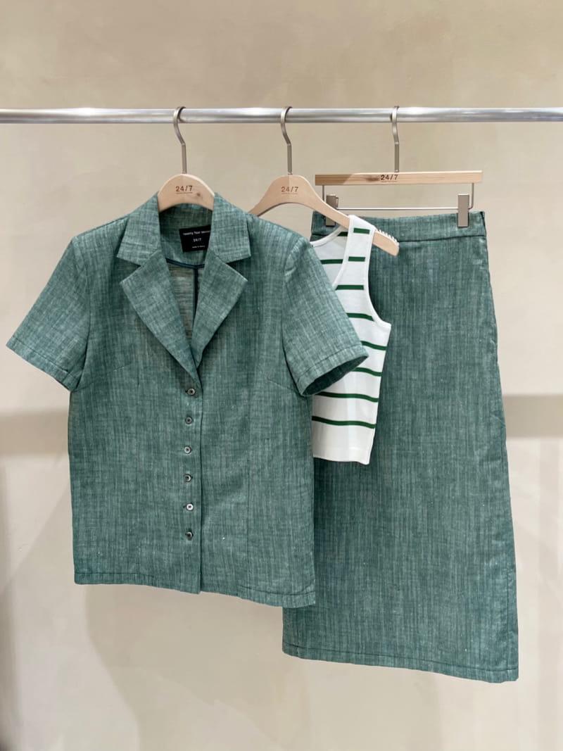 TWENTY FOUR SEVEN - BRAND - Korean Children Fashion - #Kfashion4kids - Slub Linen Top Bottom Set