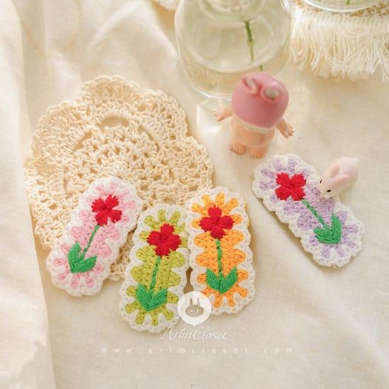 ARIM CLOSET - BRAND - Korean Children Fashion - #Kfashion4kids - Flower Knit Hairpin