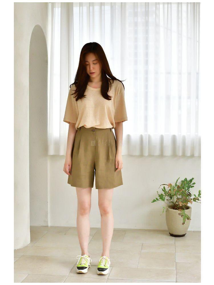UERE - Korean Children Fashion - #Kfashion4kids - Linen Half-length Pants