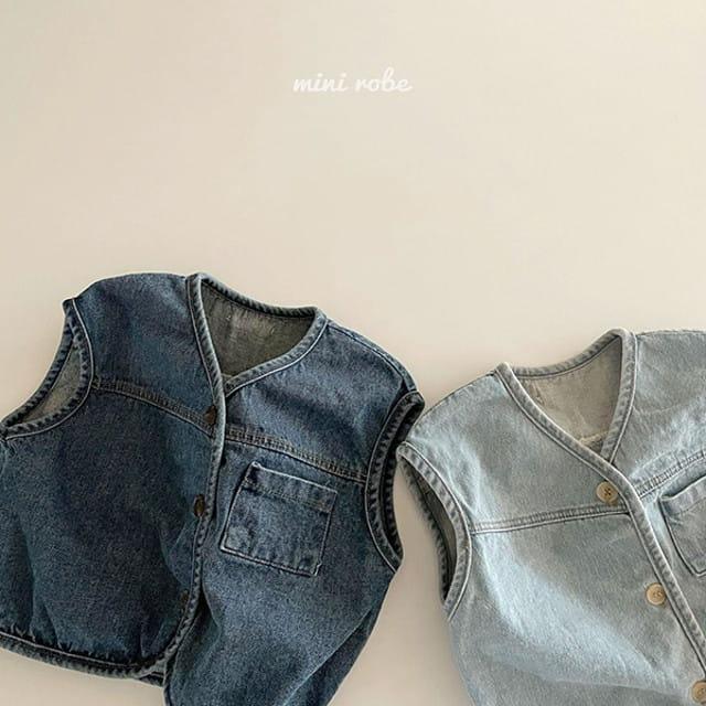 MINI ROBE - BRAND - Korean Children Fashion - #Kfashion4kids - Denimn Vest Outer