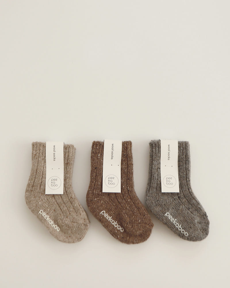 PEEKABOO - BRAND - Korean Children Fashion - #Kfashion4kids - Peekawool Socks [set of 3]